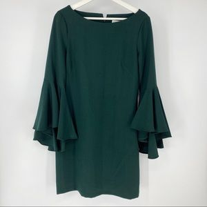 Eliza J dark green shift dress with bell sleeves